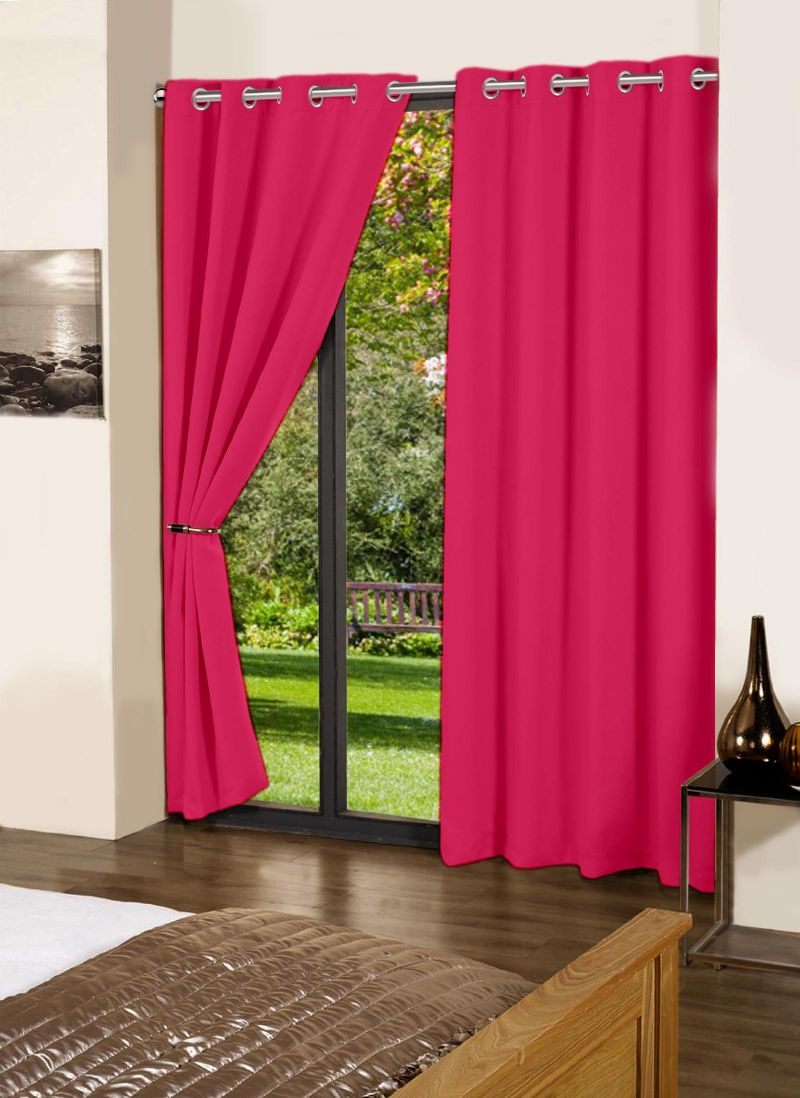 Buy Lushomes Rasberry Plain Cotton Curtains With 8 Eyelets For Long Door online