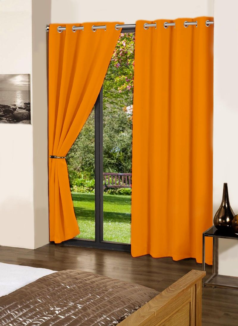 Buy Lushomes Sun Orange Plain Cotton Curtains With 8 Eyelets For Long Door online