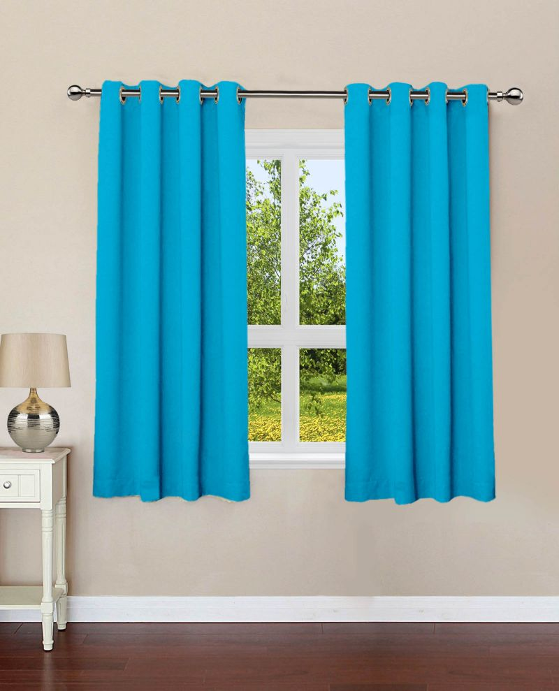 Buy Lushomes Bachelor Button Plain Cotton Curtains With 8 Eyelets For Windows online
