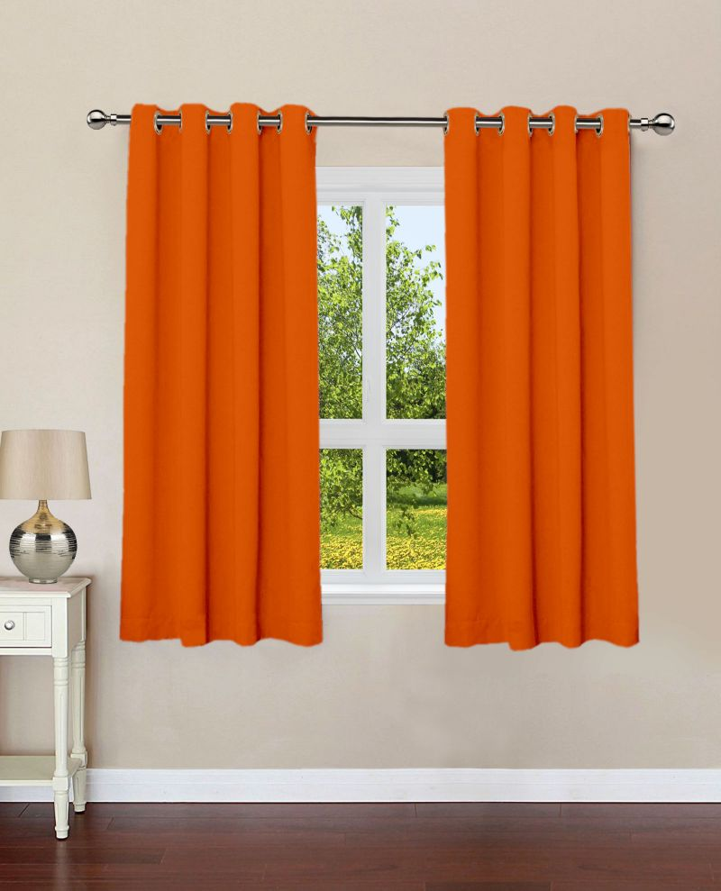 Buy Lushomes Red Wood Plain Cotton Curtains With 8 Eyelets For Windows online