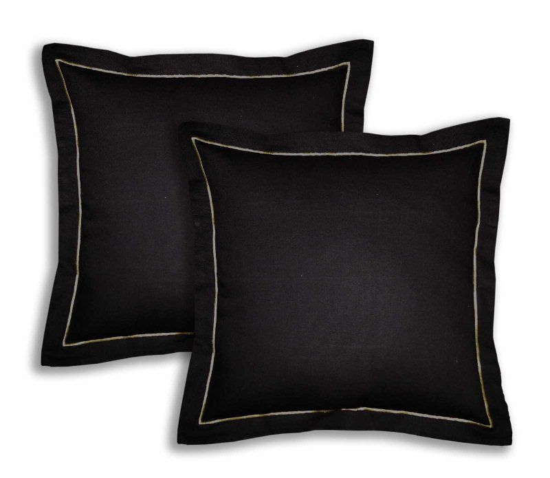 Buy Lushomes Cotton Half Panama Pirate Black Cushion Covers (pack Of 2) online