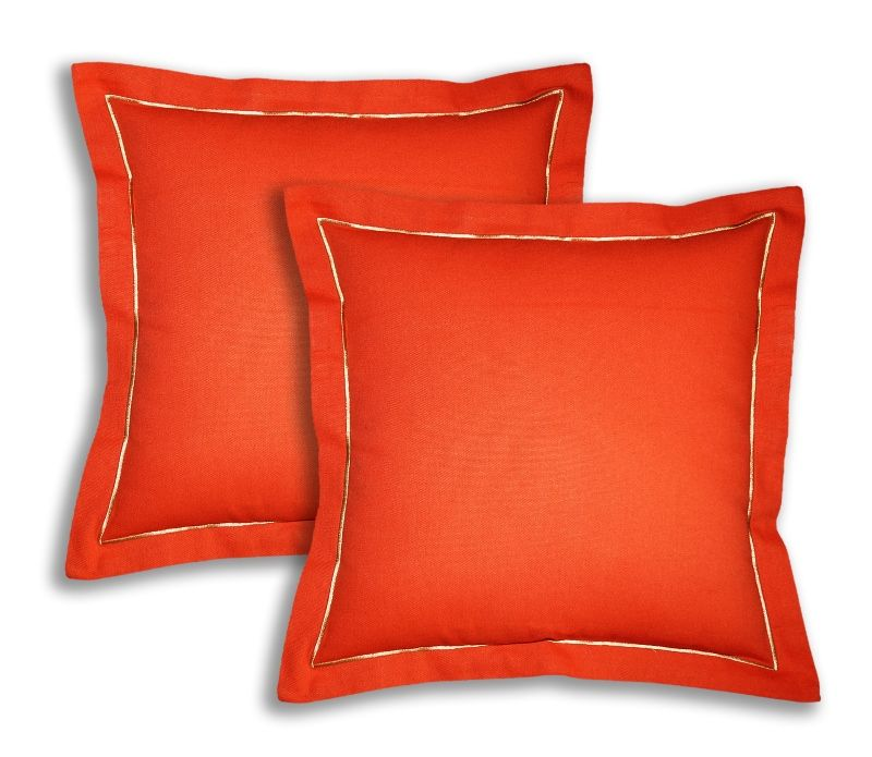 Buy Lushomes Cotton Half Panama Red Wood Cushion Covers (pack Of 2) online