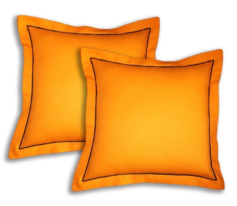 Buy Lushomes Cotton Half Panama Sun Orange Cushion Covers (pack Of 2) online