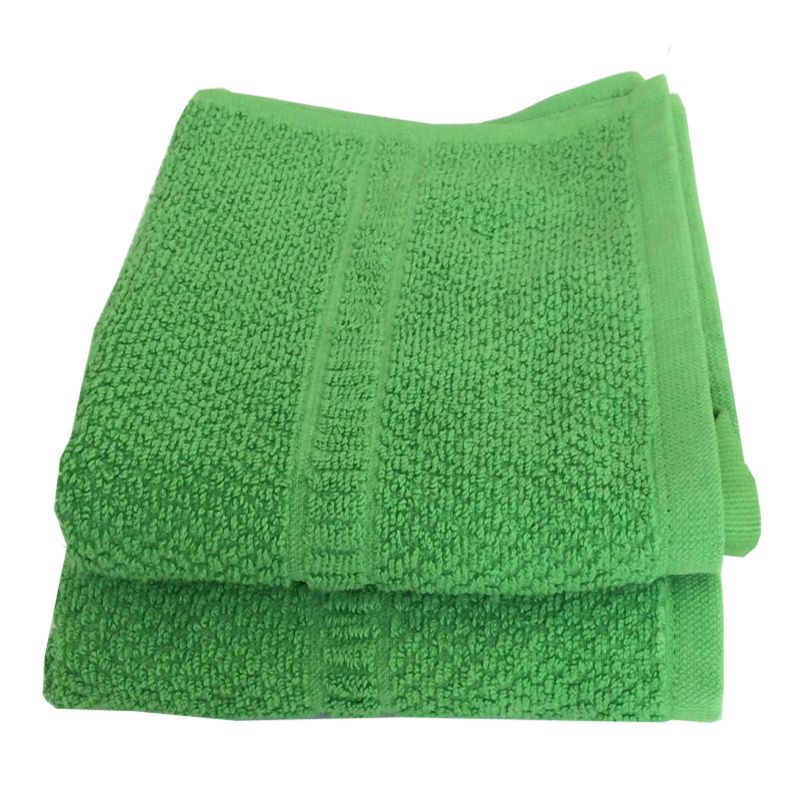 Buy Lushomes Cotton Dark Green Hand Towel Set (pack Of 2) online