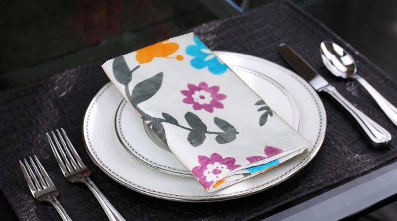Buy Lushomes Flower Printed Cotton 6 Table Napkins Set online