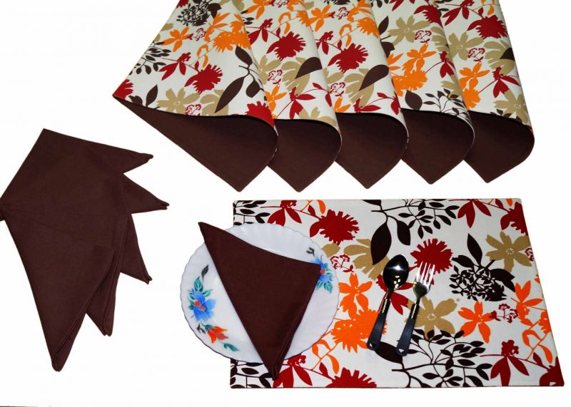 Buy Lushomes Leaf Print 6 Reversible Cotton Mats & 6 Plain Cotton Napkins online