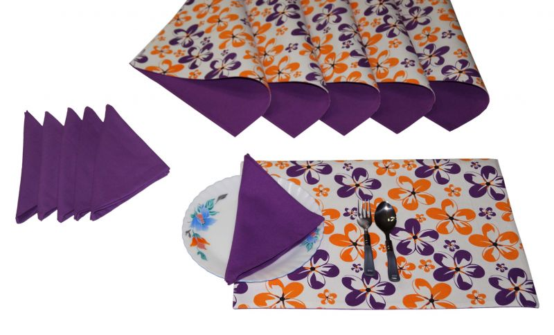 Buy Lushomes Shadow Print 6 Reversible Cotton Mats & 6 Plain Cotton Napkins online