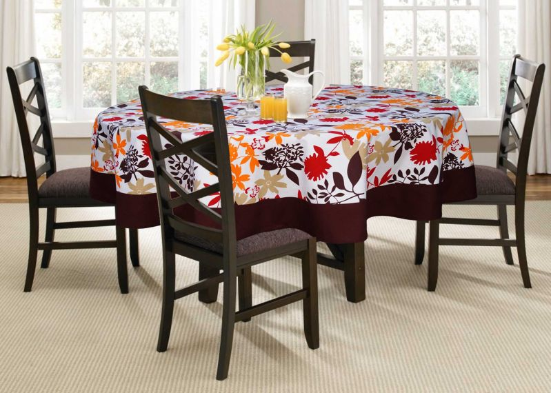Buy Lushomes 4 Seater Leaf Printed Round Table Cloth online