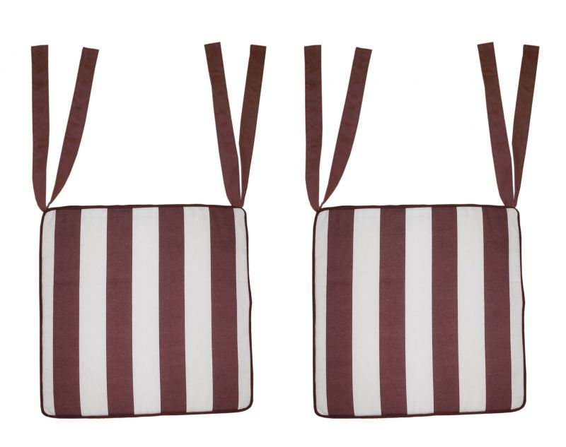 Buy Lushomes Brown Square Striped Chairpad with Top Zipper and 4 Strings online