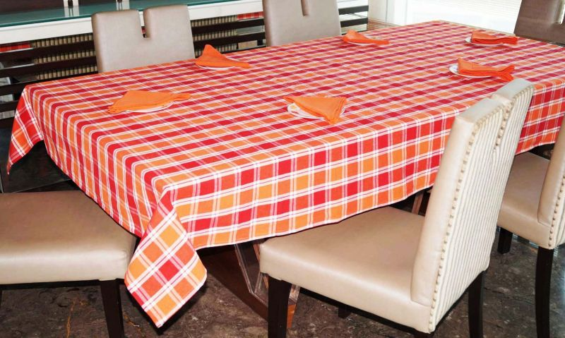 Buy Lushomes Yarn Dyed Orange And Red Checks 6 Seater Table Cloth & Napkin Set online