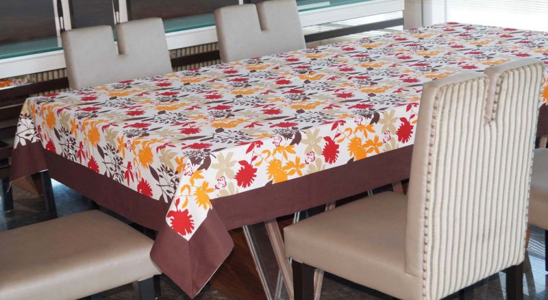 Buy Lushomes 6 Seater Ragular Leaf Printed Table Cloth online