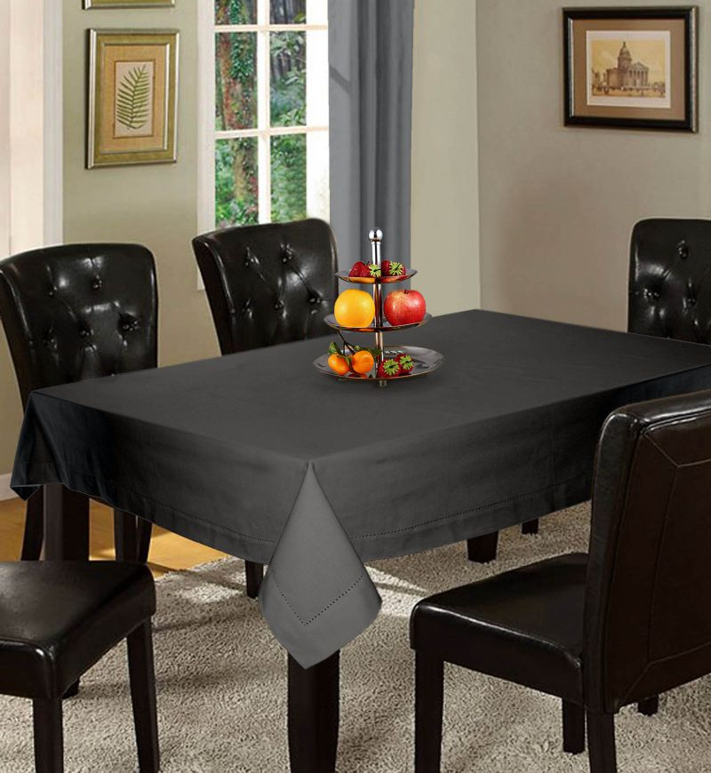 Buy Lushomes Plain Sedona Sage Holestitch 12 Seater Grey Table Cover online