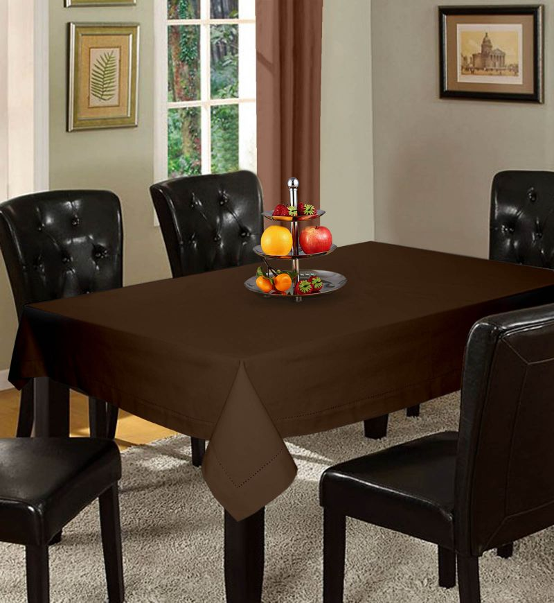 Buy Lushomes Plain French Roast Holestitch 4 Seater Brown Table Cover online