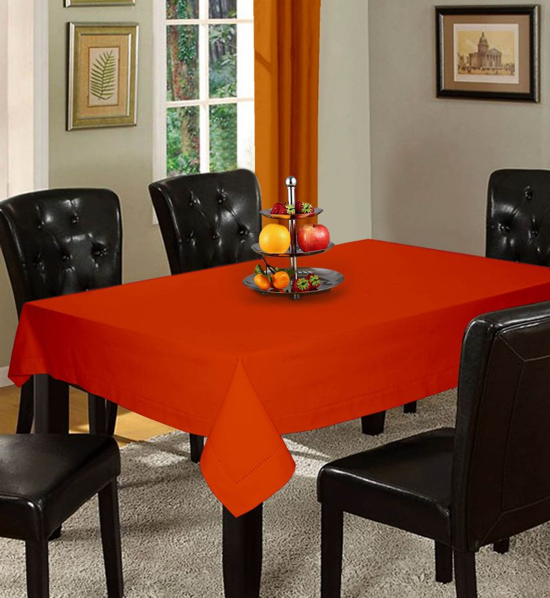 Buy Lushomes Plain Red Wood Holestitch 4 Seater Orange Table Cover online