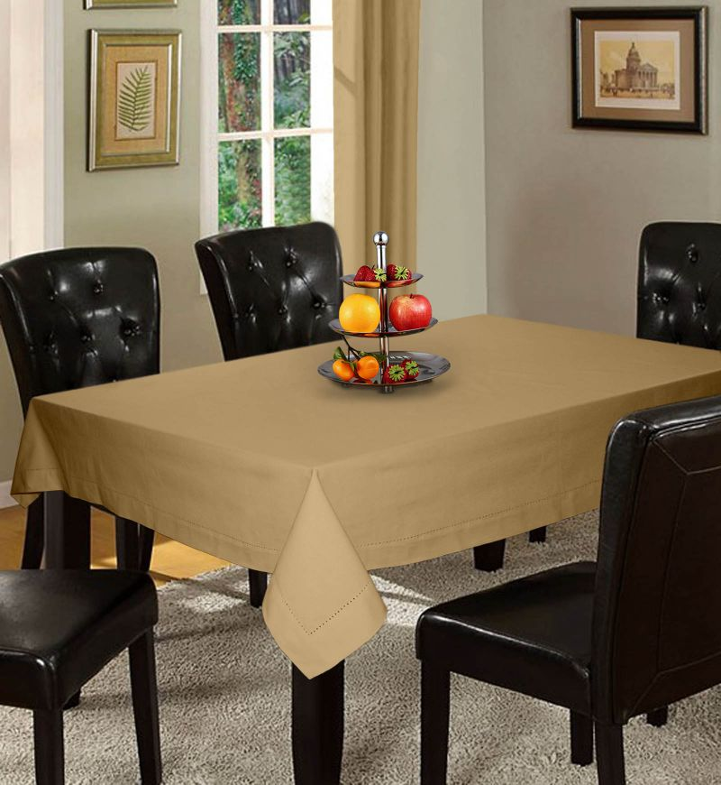 Buy Lushomes Plain Sand Holestitch 4 Seater Beige Table Cover online
