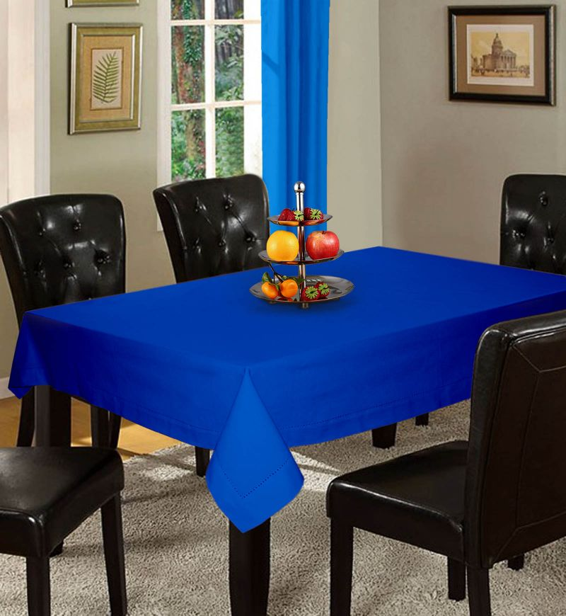 Buy Lushomes Plain Sky Diver Holestitch 6 Seater Blue Table Cover online