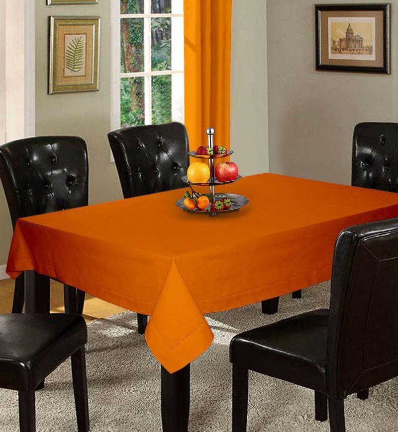 Buy Lushomes Plain Sun Orange Holestitch 6 Seater Orange Table Cover online