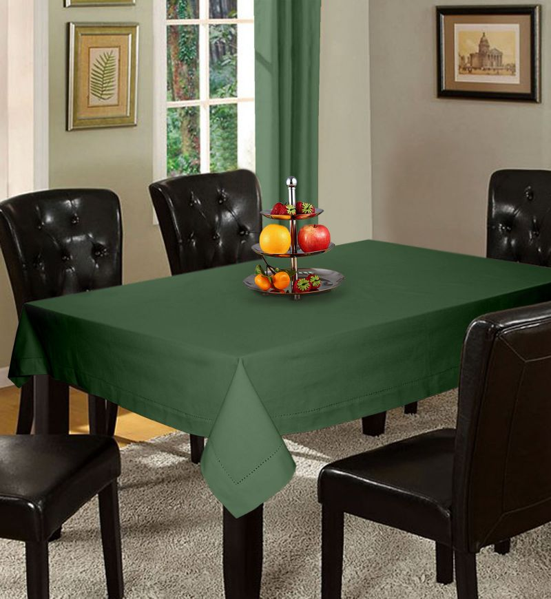 Buy Lushomes Plain Vineyard Green Holestitch 6 Seater Green Table Cover online