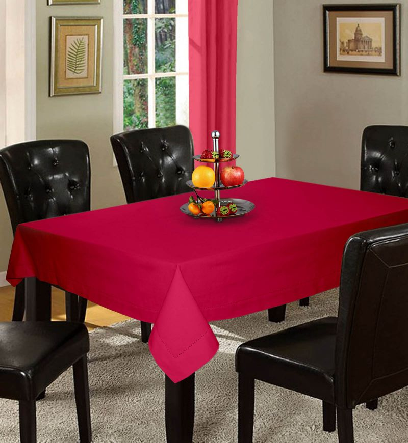 Buy Lushomes Plain Rasberry Holestitch 6 Seater Pink Table Cover online