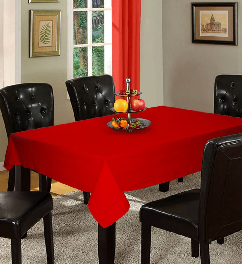 Buy Lushomes Plain Tomato Holestitch 6 Seater Red Table Cover online