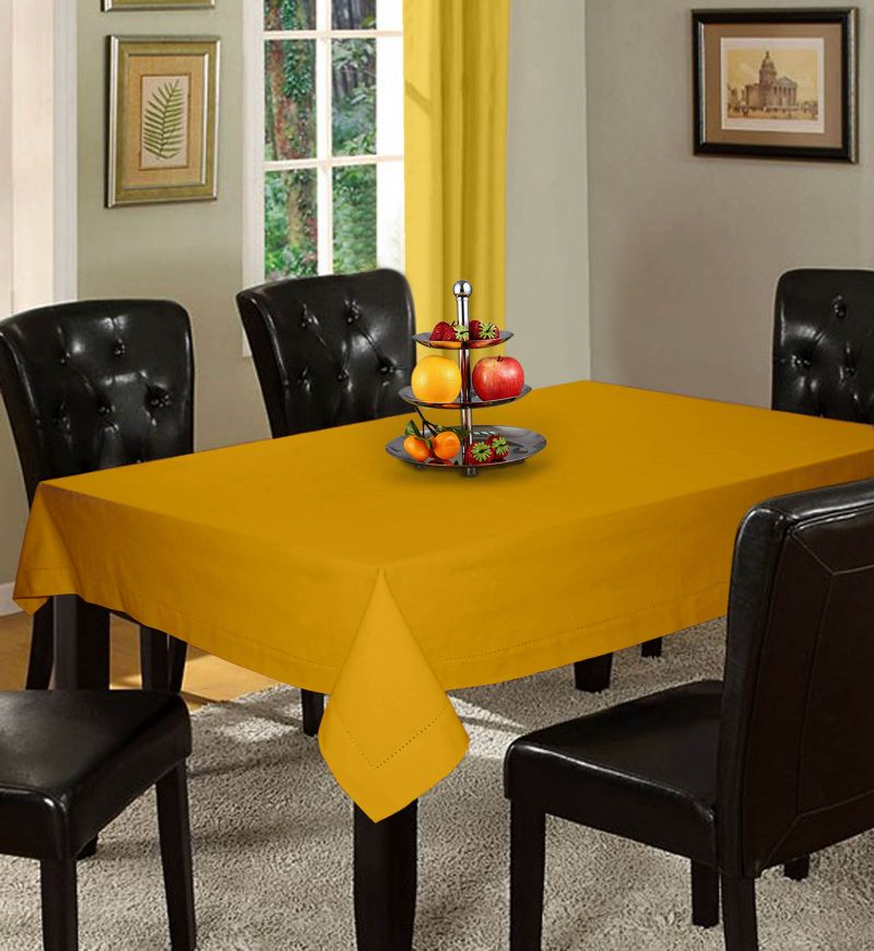 Buy Lushomes Plain Lemon Chrome Holestitch 8 Seater Yellow Table Cover online
