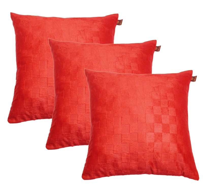 Buy Lushomes Red Embossed Blackberry Cushion Cover (pack Of 3)_ebcc12p3-1005 online