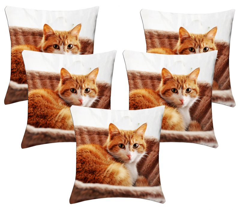 Buy Lushomes Kids Digital Print Cat Cushion Covers (pack Of 5) online