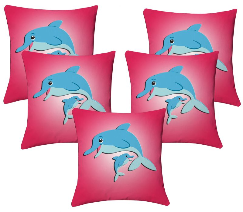Buy Lushomes Kids Digital Print Dolphins Cushion Covers (pack Of 5) online