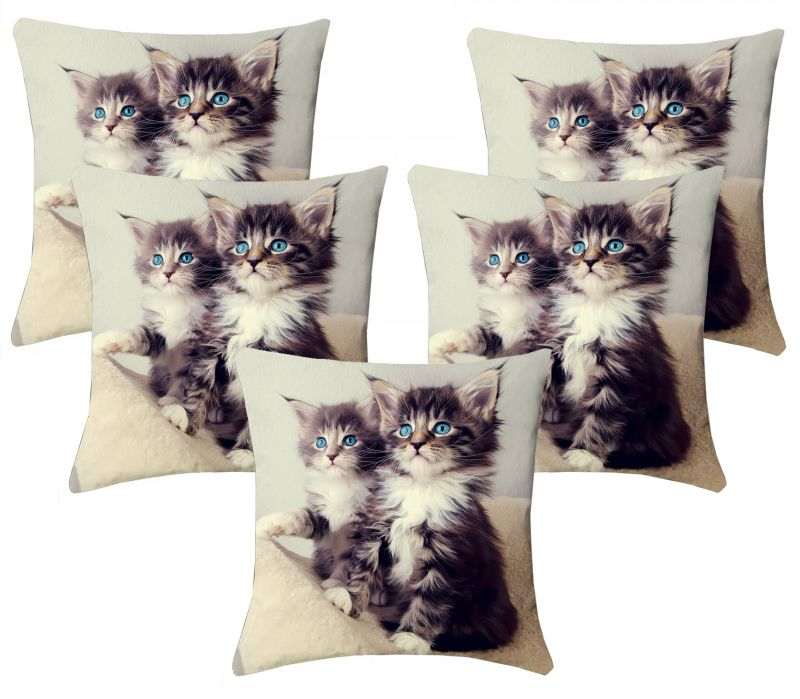 Buy Lushomes Kids Digital Print Kittens Cushion Covers (pack Of 5) online