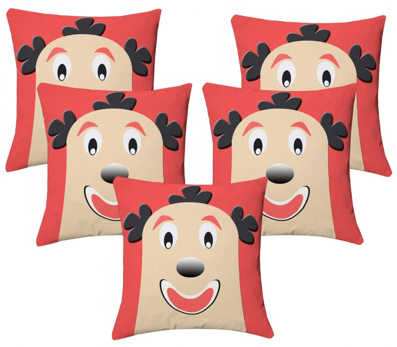 Buy Lushomes Kids Digital Print Bald Funny Man Cushion Covers (pack Of 5) online