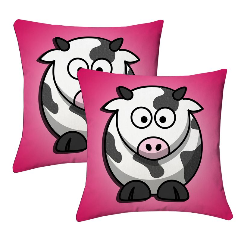 Buy Lushomes Kids Digital Print Cow Cushion Covers (pack Of 2) online