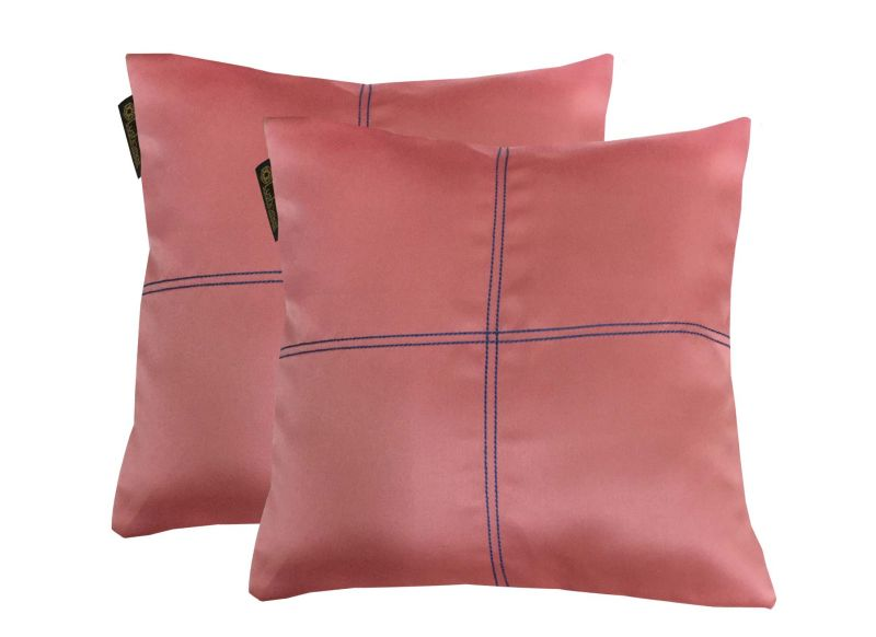 Buy Lushomes Light Pink Blackout Cushion Cover With Artistic Stitch online