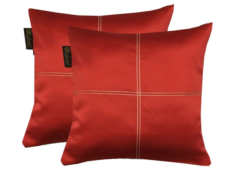 Buy Lushomes Red Blackout Cushion Cover With Artistic Stitch online