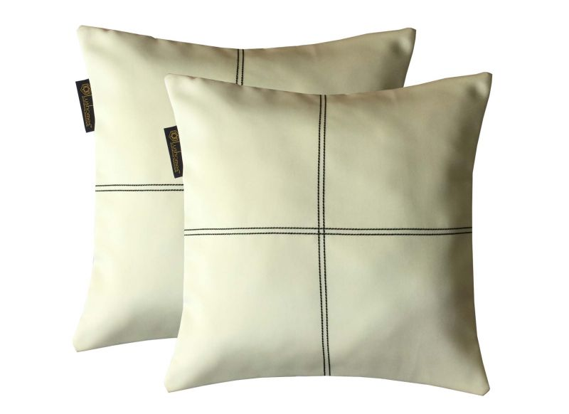 Buy Lushomes Off-white Blackout Cushion Cover With Artistic Stitch online