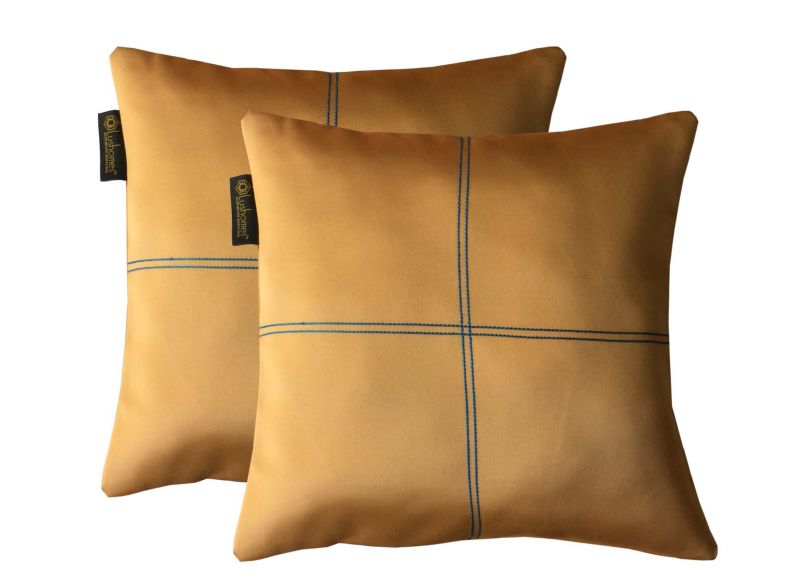 Buy Lushomes Coffee Blackout Cushion Cover With Artistic Stitch online