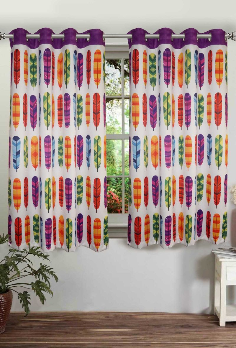 Buy Lushomes Printed Feather Polyster Curtains With Eyelets For Windows online