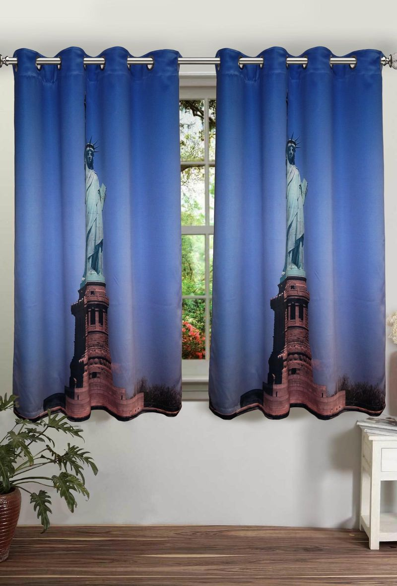 Buy Lushomes Printed Statue Of Liberty Polyster Curtains For Windows online