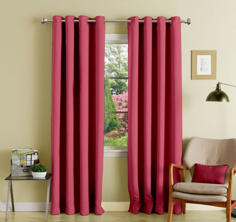 Buy Lushomes Light Pink Polyester Blackout Curtains With 8 Eyelets For Door online