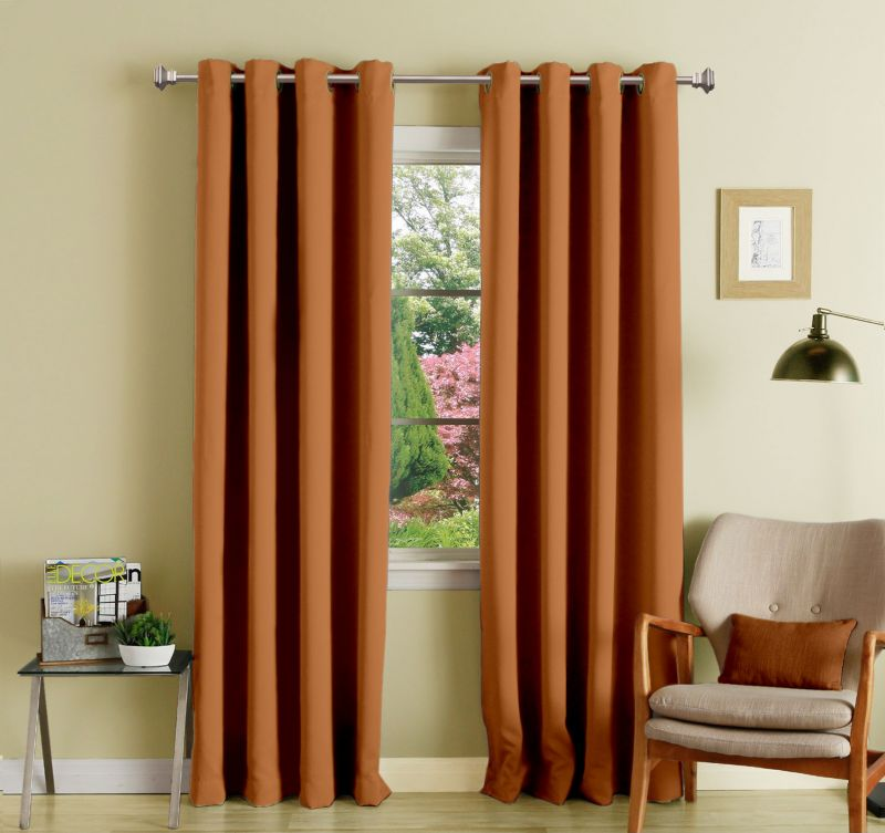 Buy Lushomes Coffee Polyester Blackout Curtains With 8 Eyelets For Long Door online