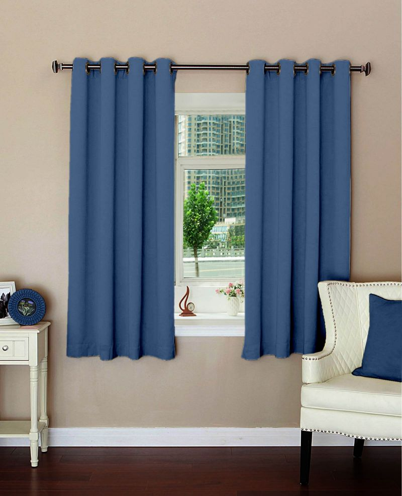 Buy Lushomes Plain Blue Polyester Blackout Curtains For Windows online