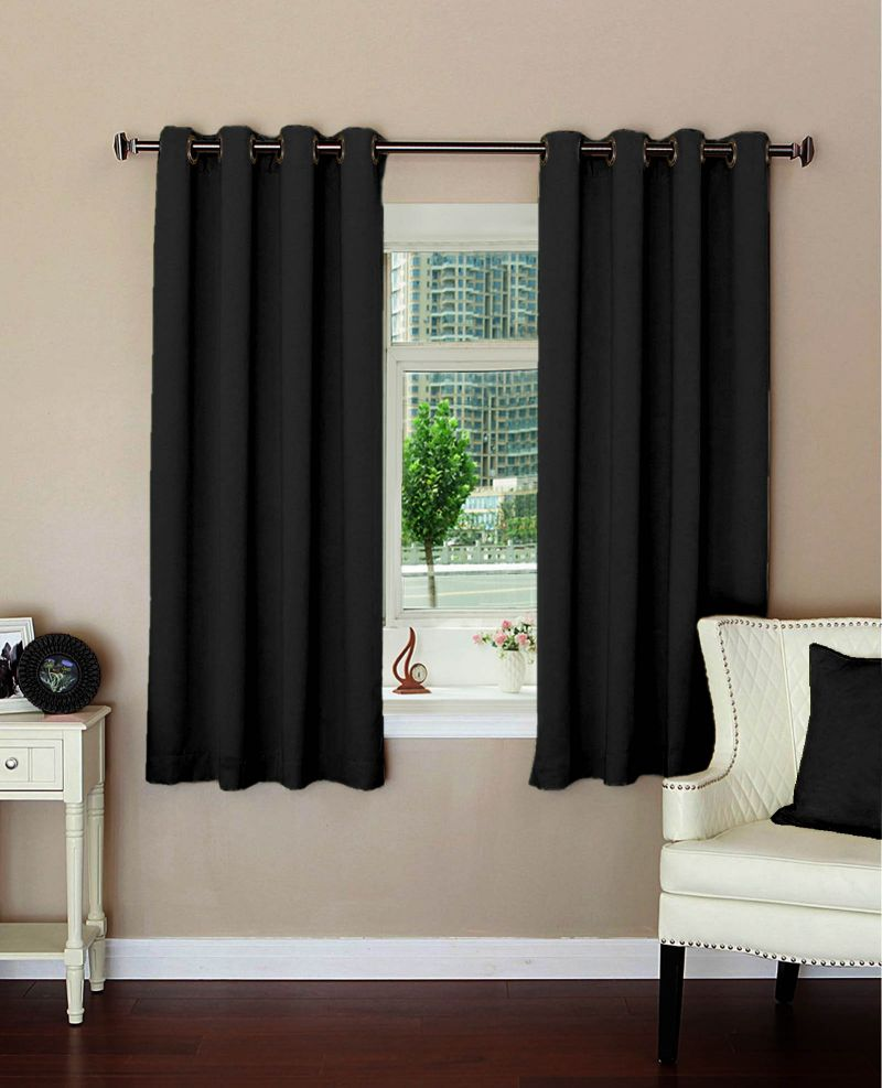 Buy Lushomes Plain Black Polyester Blackout Curtains For Windows online