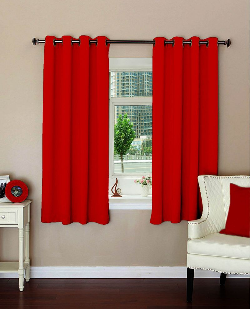 Buy Lushomes Plain Red Polyester Blackout Curtains For Windows online