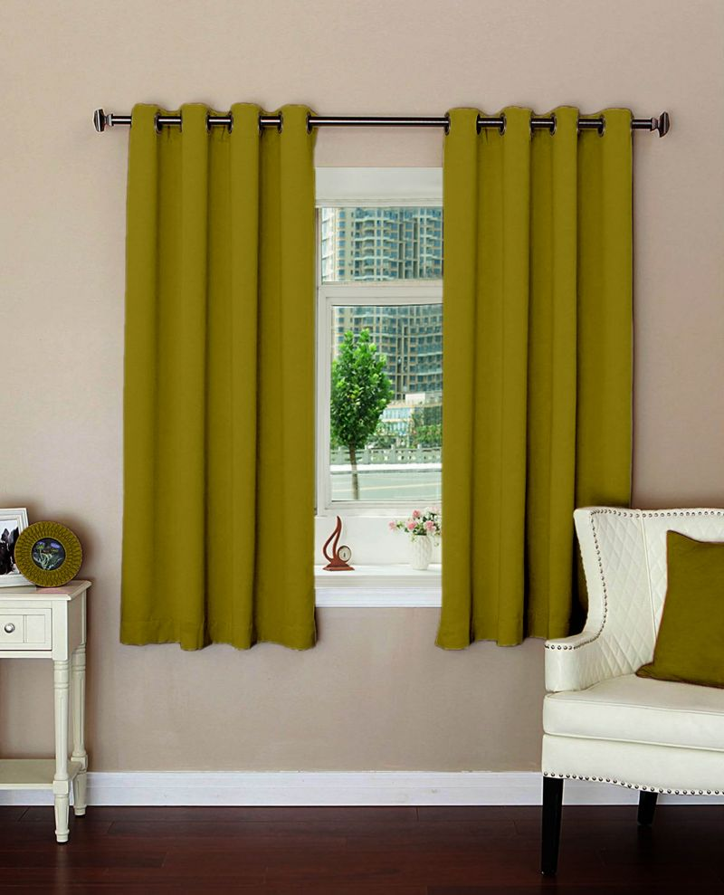 Buy Lushomes Plain Ginger Polyester Blackout Curtains For Windows online