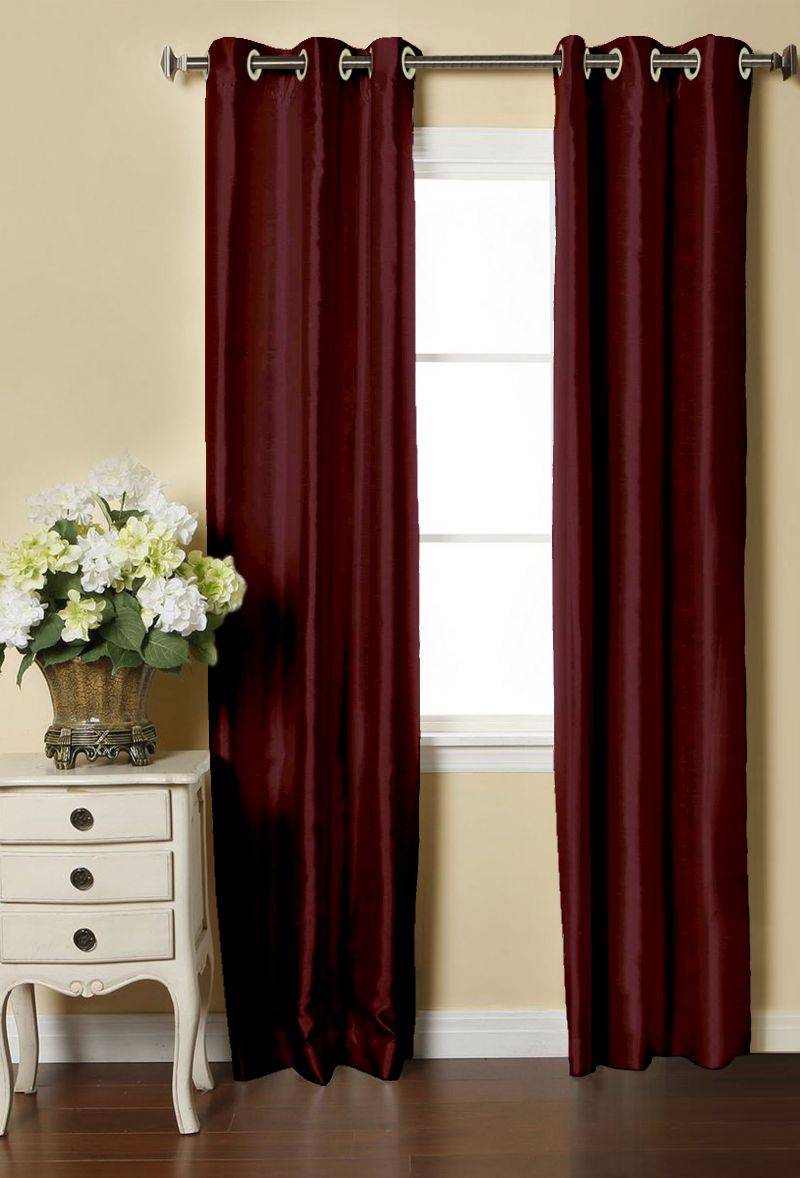 Buy Lushomes Burgundy Dupion Silk Curtain with 6 plastic eyelets (Pack of 2 pcs) for Doors online
