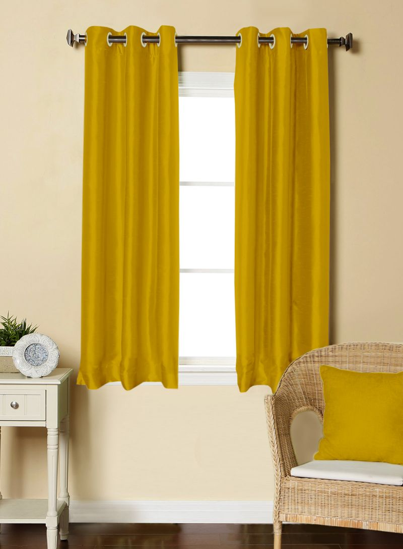 Buy Lushomes Gold Dupion Silk Curtain with 6 plastic eyelets (Pack of 2 pcs) for Windows online