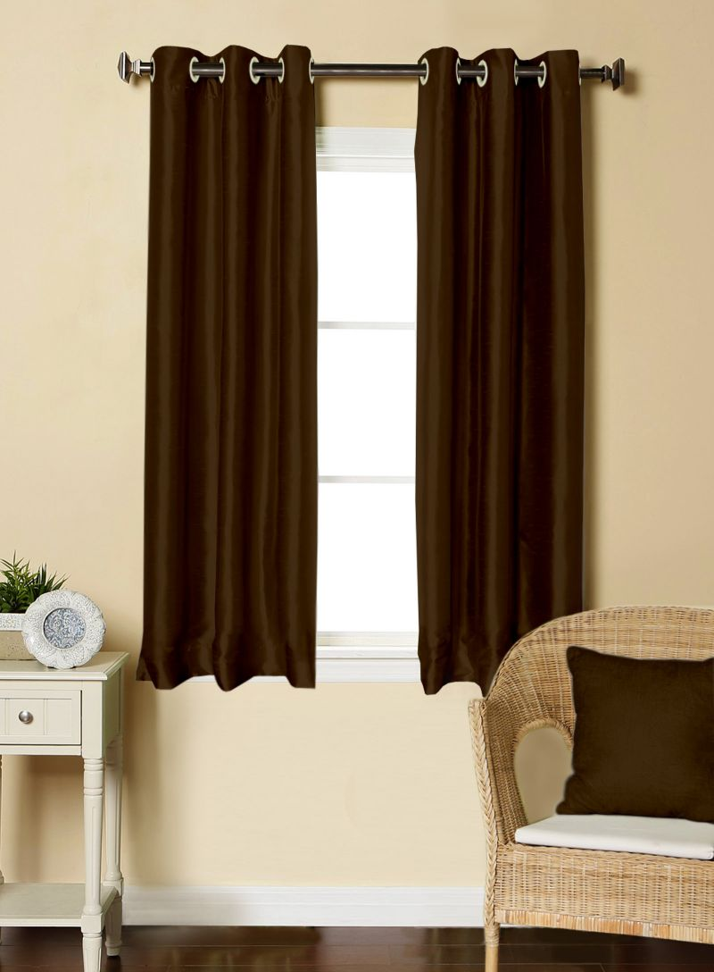 Buy Lushomes Brown Dupion Silk Curtain with 6 plastic eyelets (Pack of 2 pcs) for Windows online