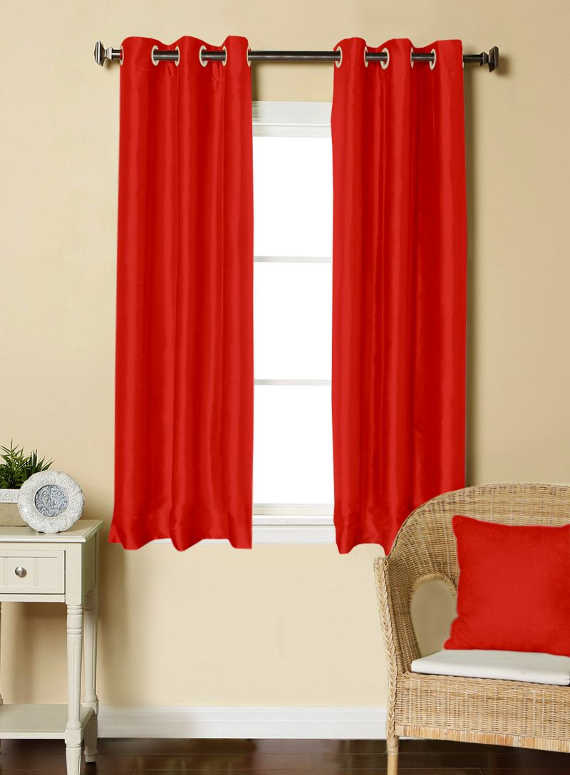 Buy Lushomes Red Dupion Silk Curtain With 6 Plastic Eyelets (pack Of 2 Pcs) For Windows - Podscnwp2_1006 online