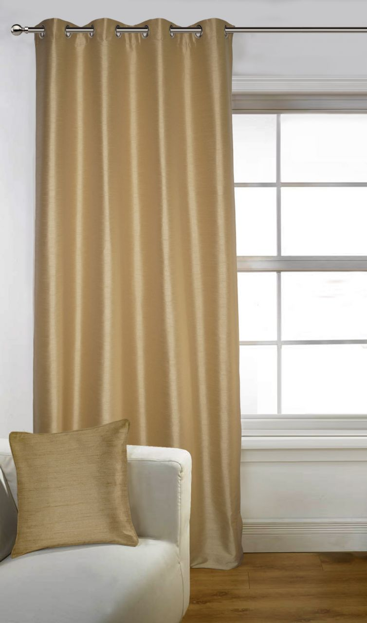 Buy Lushomes Beige Art Silk Door Curtain with Polyester Lining online