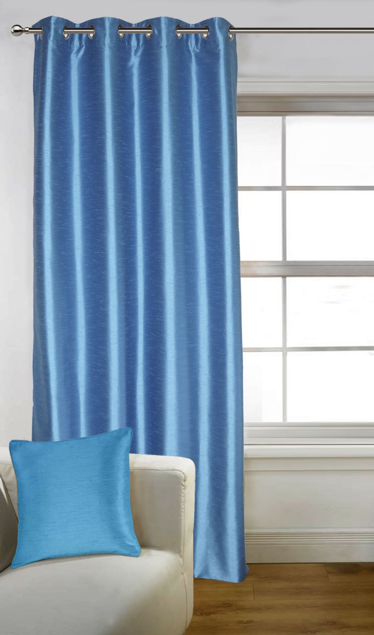 Buy Lushomes Blue Art Silk Door Curtain with Polyester Lining online