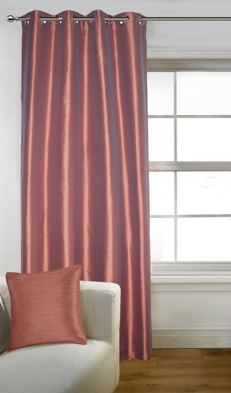 Buy Lushomes Maroon Art Silk Long Door Curtain with Polyester Lining online
